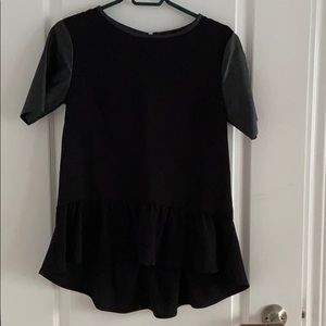H&M High Low Peplum Shirt with Leather Sleeves